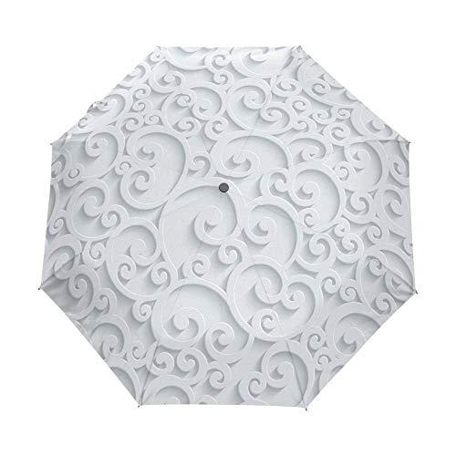 YUQINT Paraguas completo automático 3D floral Guarda Chuva blanco chino paraguas 3 paraguas plegable lluvia mujeres anti UV viajes al aire libre (color: item4)