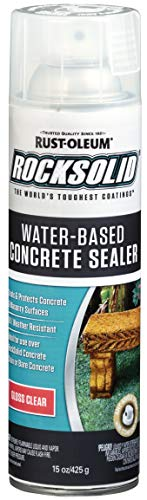 Rust-Oleum 247166 RockSolid Water-Based Concrete Sealer Spray, 15 oz, Gloss Clear