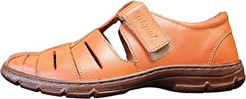 Lukpol Mens Leather Slip On Walking Sandals M1062 (Cognac, US 10 / EU 43)