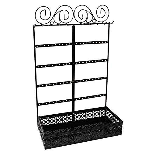 BELLE VOUS Schmuckständer - (26x40x12cm) Metall Schmuck Display-Ständer mit 10 Haken, 80 Löchern und Rechteckiges Schmuckbehälter - Schmuckhalter Wand zur Ohrringe, Halsketten und Kosmetika (Schwarz)
