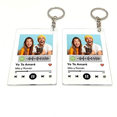 Llavero Acrílico (2 UNIDADES IGUALES) personalizado con canción y foto. 8,5X5,5 cm. Regalo original. Regala música de una forma nueva. Impresión directa (LLAVERO ACRÍLICO)