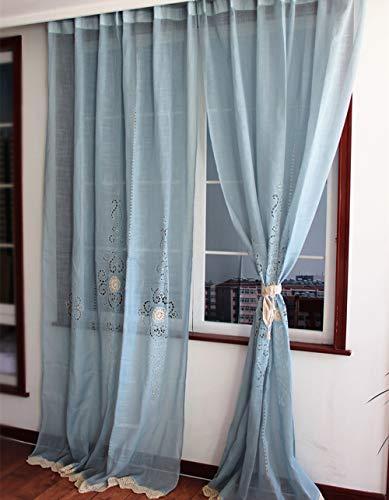 choicehot - Cortinas de crochet blancas hechas a mano para dormitorio, cocina, recepción, decoración del hogar (1 unidad), azul, W150 x L180 cm