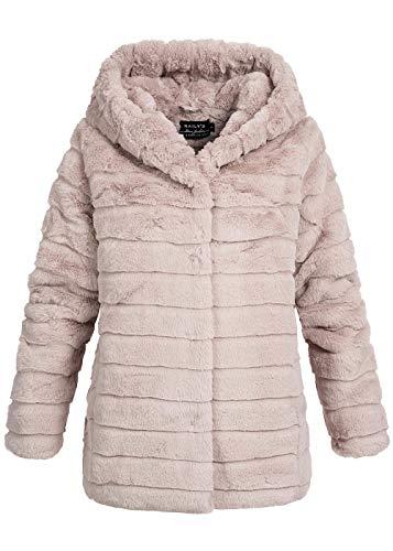 Hailys Damen Parka Kunstfell Winter Jacke Kapuze 2-Pockets Webpelz rosa, Gr:S