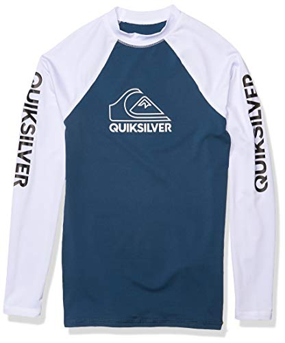 Quiksilver Boys' Big Tour Long Sleeve Youth Rashguard Surf Shirt, Majolica Blue, S/10
