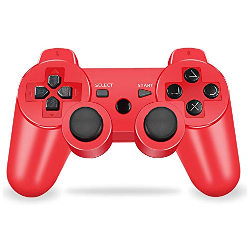 PS3 Controller Wireless, PS3 Joystick, PS3 Remote, Wireless PS3 Controller Double Shock Gamepad Compatible for Playstation 3, Coming with Skin Cover,Thumb Grips and Mini USB Cable (Red)