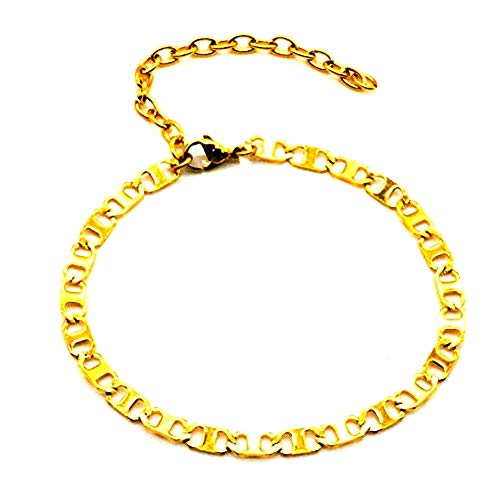 Women Girls 18K Gold Plated Flat Marina Link Anklet Barefoot Jewelry Infinity Anklet Foot Rope Cuban Chain Bracelet 8.5 inch+3 inch(5MM)