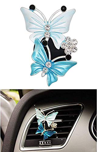 Car Air Conditioning Outlet Clip ,Lovely Bling Butterfly Car Air Outlet Freshener Perfume Clip Aroma Diffuser Decor - Blue