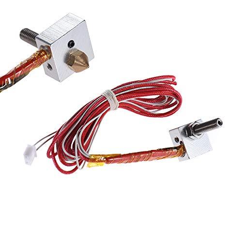 Anet Piezas de impresora 3D DIY Hot End Kit de boquilla de 0,4 mm y extrusora garganta y calentador y termistor y bloque de calentador para Anet A6 A3-S