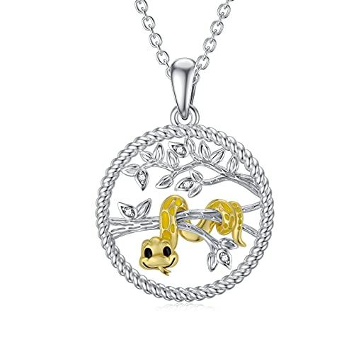 LONAGO Collier Serpent Argent Sterling 925 Arbre de la Vie a