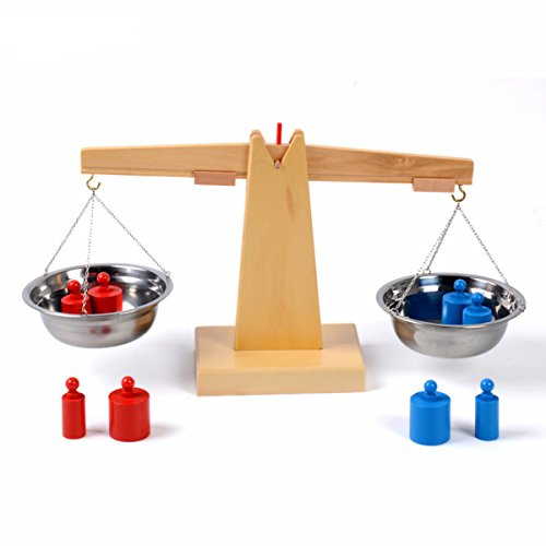Montessori Wooden Balance Beam Weighing Scale Early Childhood Education...