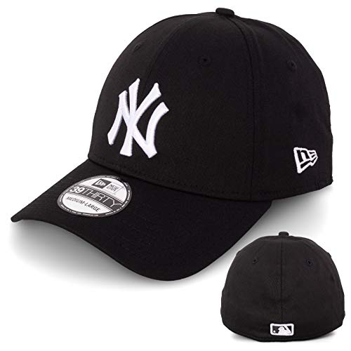 New Era Basecap Baseball Cap Herren Limited Edition MLB Mütze 39THIRTY Stretch Fit New York Yankee, LA Dodgers, Essential Basic (S/M, Black/White)