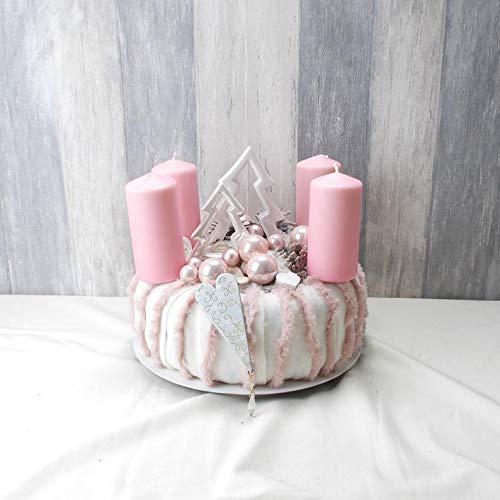 Adventskranz, rosa-weiß, mit Tannenbäumen, Tischkranz, Weihnachten, Adventsdeko,