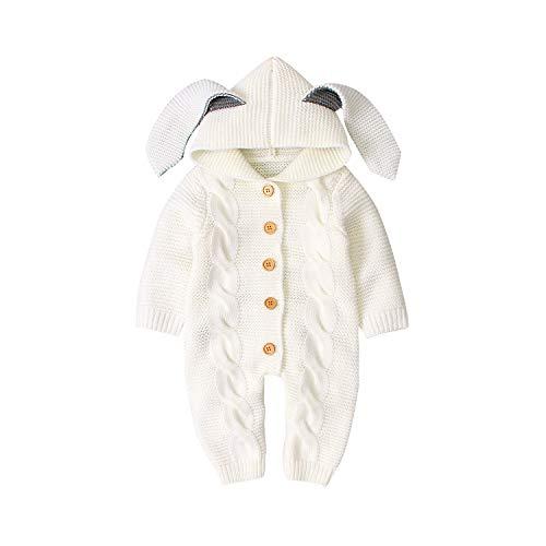 Mono con Capucha de Punto con Orejas de Conejo para bebés, niñas, niños, Mono cálido de una Pieza con Botones, 90 Blanco, 12-18 Meses