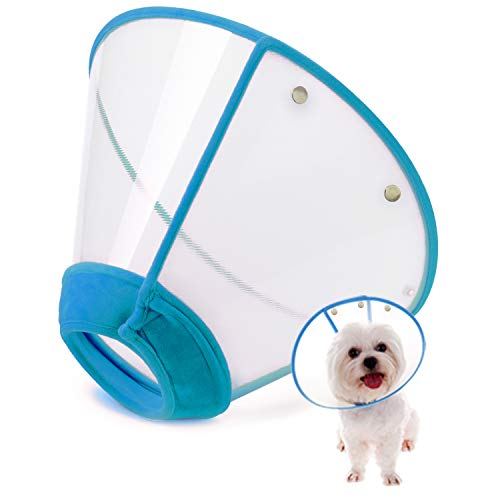 IN HAND Adjustable Pet Recovery Collar Comfy Cat Cone, US Patented Product Soft Edge Plastic Dog Cone Anti-Bite Lick Wound Healing Safety Practical...