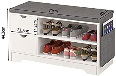 ZOYO Wooden Shoe Bench Storage Rack, with Cushion Seat and Drawers for Entryway Hallway Living Room Furnitur. (White 2 Drawer Shoe Bench)