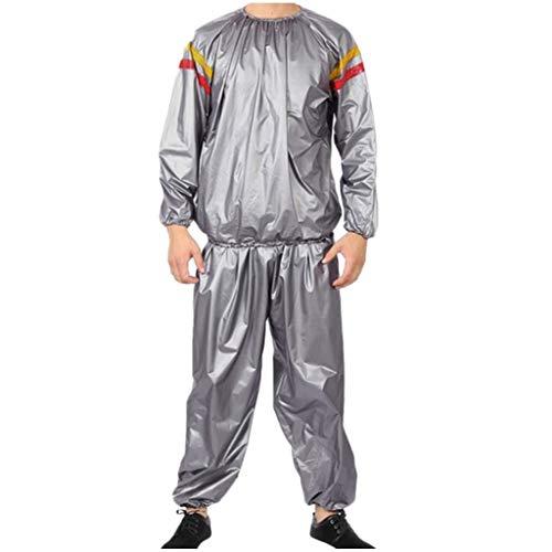 riou Conjunto de chándal y pantalón para Hombre PVC Fitness Clothes Sports Ropa de Sauna y Sudor Rojo y Amarillo Traje Adelgazante Manga Larga Casual Abrigo Chandal