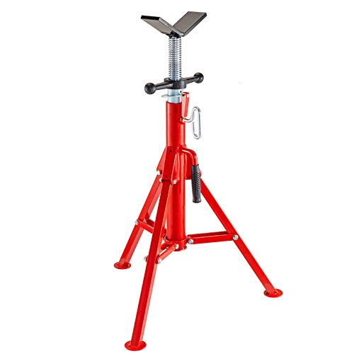 V Head Pipe Stand Adjustable Height 28-52 Inch, Folding V Head Pipe Stand 2500lbs, Pipe Jack Stand 1/8 to 12 In, Welding Pipe Stand