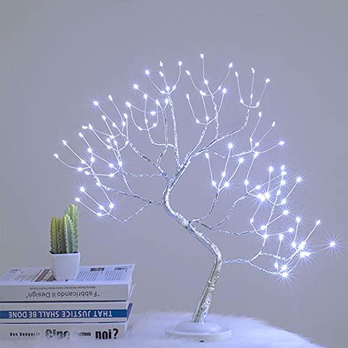 JMEXSUSS 20 Inch Bonsai Tree Desk Table LED Lamp Lights Battery and USB Plug in Design Decorative 108leds Artificial Tree(White)