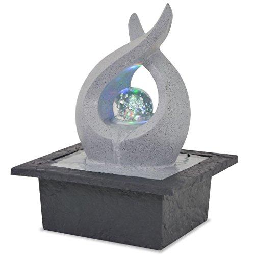 vidaXL Zimmerbrunnen mit LED Polyresin Dekobrunnen Springbrunnen Wasserspiel