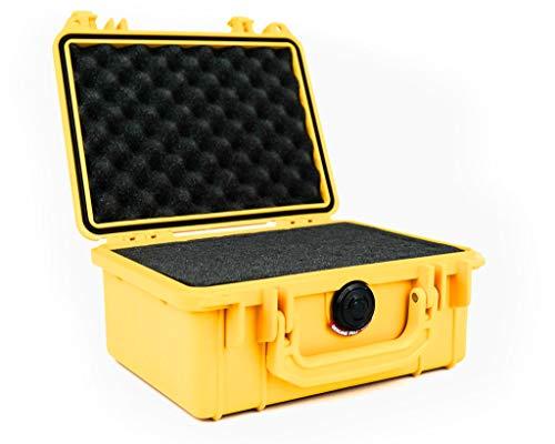 PELI 1150 Stoßfester Schutzkoffer für Foto- und Videoausrüstung, IP67 Wasserdicht, 3L Volumen, Hergestellt in den USA, Mit Schaumstoffeinlage (Anpassbar), Gelb