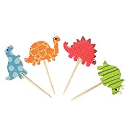 9. Honbay Double Sided Dinosaur Cupcake Toppers (48 Pack)