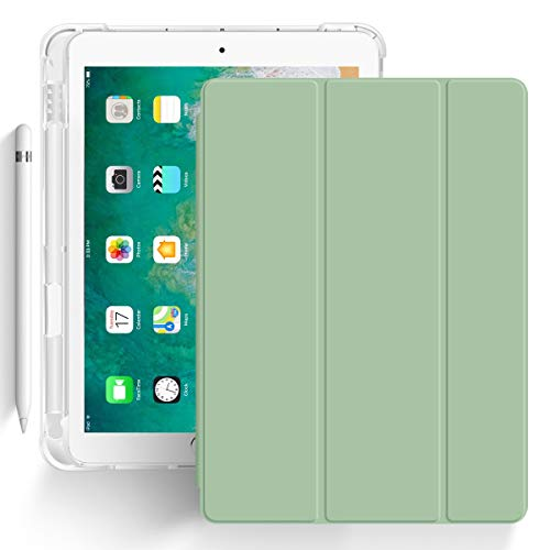 ZOYU iPad 9.7 Case 2018 iPad 6th Generation Case / 2017 iPad 5th Generation Case with Pencil Holder Cover Slim Soft Silicone Smart Trifold Stand Protective Cover for iPad 5th / 6th Gen Cases - Green