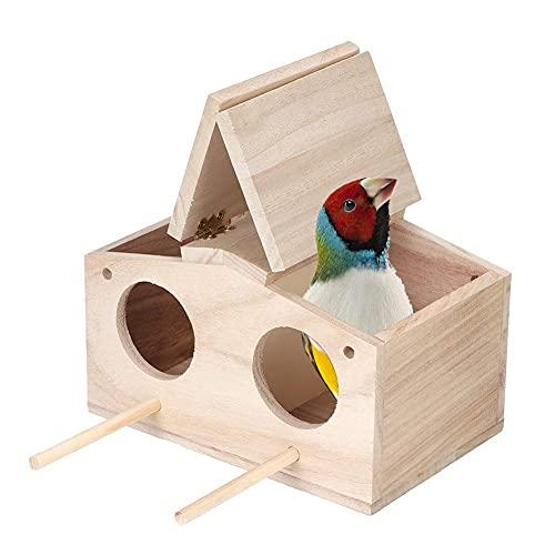 HERCHR Nido di Legno Gabbia per Uccelli per Uccelli Nidi per Uccelli Nido per Pappagalli Casetta Uccellini Casetta per Uccellini da Esterno,23x12,9x12,5 cm