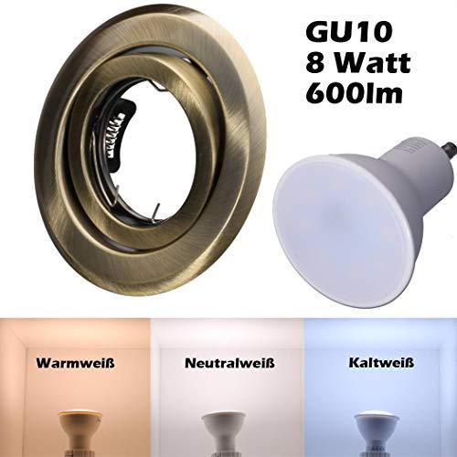 SMD LED Einbaustrahler 230 Volt 8W GU10 Decken Leuchte Deckenstrahler Rahmen Altmessing Rund schwenkbar 35 Grad hg36-6 Warmweiß