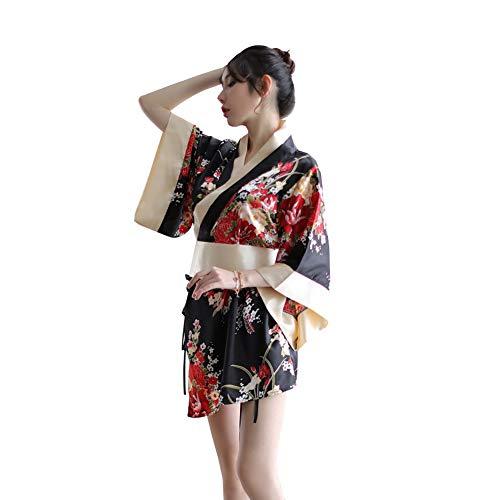 HNGPB Kimono japonés sexy traje tradicional lencería Yukata trajes de mujer pijama (negro)