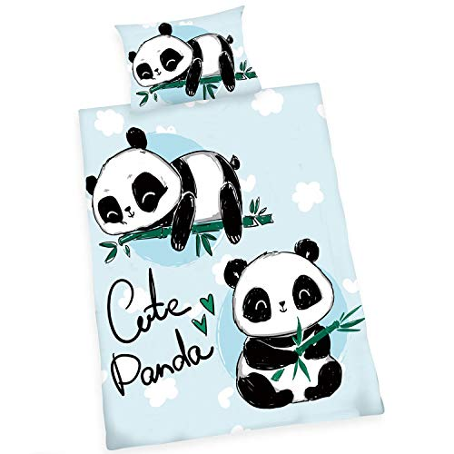 Wajade Ropa de cama con diseño de oso panda, juego de fundas de edredón y fundas de almohada para niños, niños y niñas (oso panda, 135 x 200 cm)