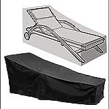 Cubierta de Muebles de Jardín,Impermeable Funda Tumbona Exterior de Jardín Patio, Resistente al Viento Anti UV Cubierta Tumbona Protectora para Muebles de Jardín 210 * 75 * 80 * 40CM,Negro