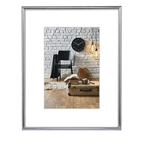 Hama Bilderrahmen DIN A4 (21 x 29,7 cm), mit Papier-Passepartout 15 x 20 cm, bruchsicheres Kunststoff Glas, zum Aufhängen, silber