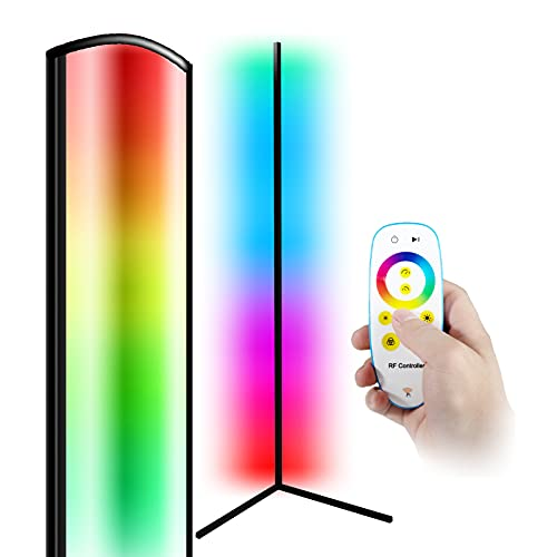 Floor Lamp, 3-in-1 RGB Multicolor White Warm Light with 356 Modes Modern Ambience LED Corner Lamp for Bedroom, Living Room and Office (Remote Batteries Not Included)
