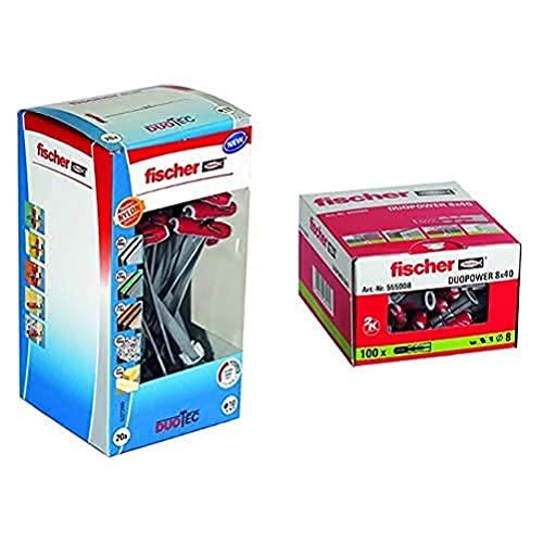fischer Duotec + Taco Duopower Uds, 555008, Gris, 8X40 (Caja 100 Tacos), Set Piezas