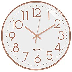 TOPPTIK Wall Clock -12 Inch Modern Digital Silent Non-Ticking Battery Operated Round Wall Clock Easy to Read Decorative for Living Room/Bedroom/Home/Kitchen/Office/School/Classroom(White- Rose Gold)