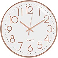 October Elf Silent Wall Clock 12 Inch Non Ticking Clock Quartz Battery Operated Round For Living Room Bedrooms Office...
