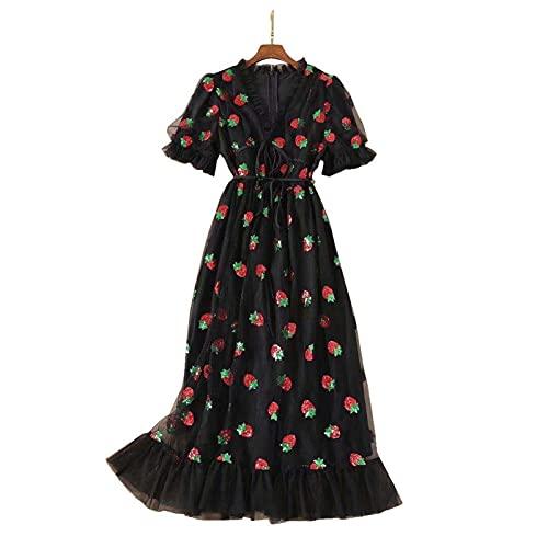 Scbolai Vestido de Fresas de Mujer con Cuello en V Profundo Vestidos de Malla Bordada de Cuello en V a línea Vestido Maxi de la Playa para Fiesta de Fiesta (Color : Black, Size : XXXL)