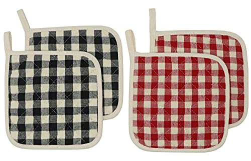 100% Cotton Pot Holders Hot Pads for Kitchen Heat...