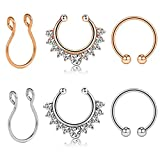 Fake Nose Rings Hoop Faux Body Piercing Jewelry Clip On Nose Septum Ring 10mm Non-Pierced Nose Lip Rings, 6PCS