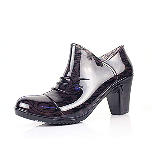 YWYW Frauen Regen Stiefel Umweltschutz PVC Regen Stiefel Kurze Röhre Low-Top Hochhackigen Wasserdicht Verschleißfeste Regen Stiefel,Braun,UK4