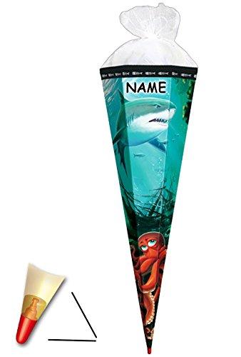 alles-meine.de GmbH stabile Spitze - aus Kunststoff - für Schultüte -  Hai Fisch mit Krake  - 50 / 70 / 85 cm - incl. Name - Zuckertüte - ALLE Größen - Roth - rund oder eckig -..