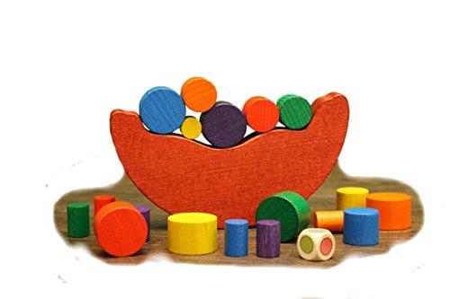 Erzgebirgische Holzspielwaren Ebert GmbH Balance Spiel Schaukel – Bausteine – Bauklötze – Holzsteine – Holzspielzeug aus dem Erzgebirge – NEU