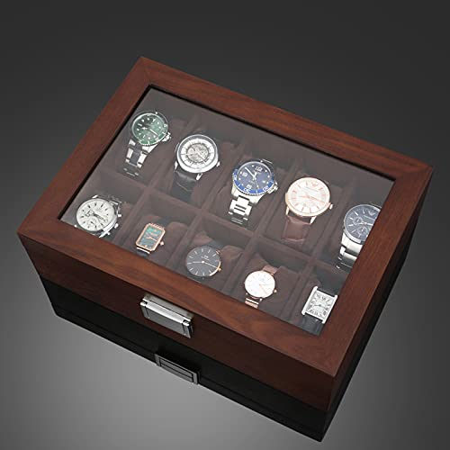 ABCSS Joyero,Caja de Almacenamiento de Reloj de Madera,Estilo Chino,Caja de Reloj Simple y Elegante para el hogar,Vidrio Transparente Alto