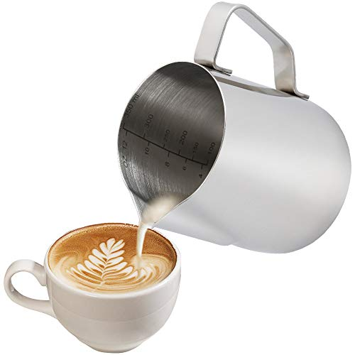 Anpro Milk Jug 350ml/12 fl.oz, 304 Stainless Steel Milk Pitcher, Milk Frothing Jug for Making Coffee Cappuccino