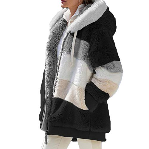 Damen-Wintermantel mit Teddybär-Motiv, Kunstfell-Jacke, modischer Parka, Oberbekleidung, Top mit Taschen XXX-Large Schwarz