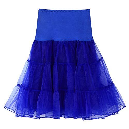 WOZOW Damen Tüllrock Tunika Einfarbig Multi-Schichten Midi Unterrock Frauen Karneval Halloween Kostüm Party Petticoat Prinzessin Kleider (S =EU:32-48,Blau)