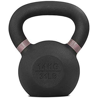 Yes4All Powder Coat Kettlebell Weights with Wide Handles & Flat Bottoms – 14kg/31lbs Cast Iron Kettlebells for Strength, Conditioning & Cross-Training from Yes4All