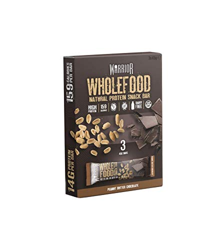 Warrior Wholefood Vegan Protein Bars - Peanut Butter Chocolate - Pack of 3 x 45g - Natural Snack Bars