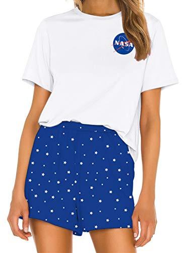 Ocean Plus Mujer Verano Conjunto de Pijama Informal Impresión Digital Manga Corta Pijama de Dos Piezas Ropa de Casa Pantalones Cortos y Conjuntos de Camisetas (L (EU), Agencia Espacial)