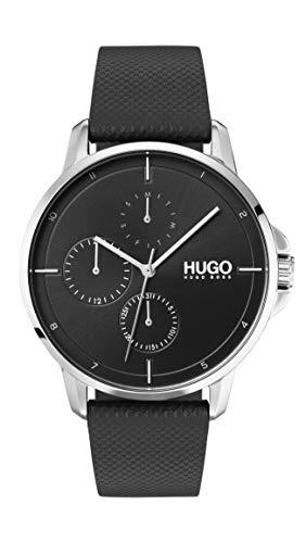 HUGO by Hugo Boss Relógio masculino de quartzo de aço inoxidável com pulseira de couro, preto, 20 (modelo: 1530022)